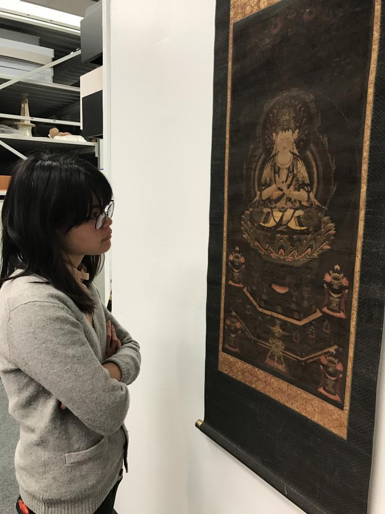 Mai Yamaguchi (Princeton Art and Archaeology) examining the meditation imagery of Dainichi nyorai 大日如來 Buddha of Japanese esoteric sect, c. 13th to 14th century AD.