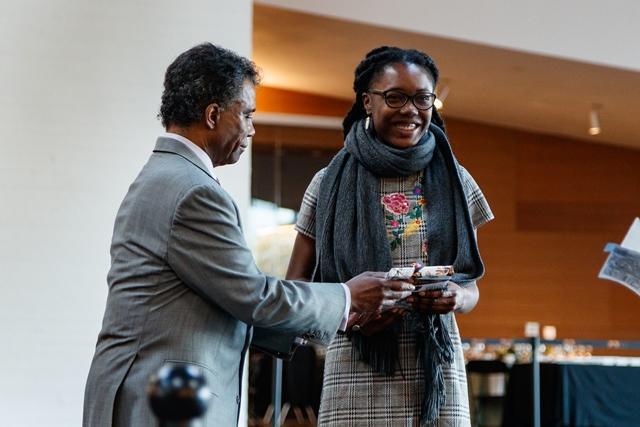 P. Randolph Hill '72 awards Rasheeda A. Saka '20 Honorable Mention Adler Prize 2018.