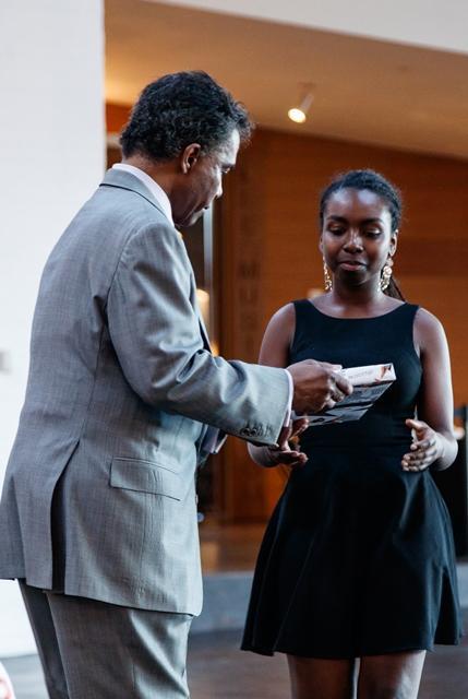 P. Randolph Hill '72 awards Kiara Gilbert '21 3rd Prize, Adler Prize 2018.